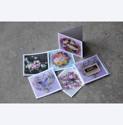 Qlkortmix x 5 med blomstermotiv